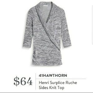41Hawthorn Henri Surplice Ruche Sides Knit Top